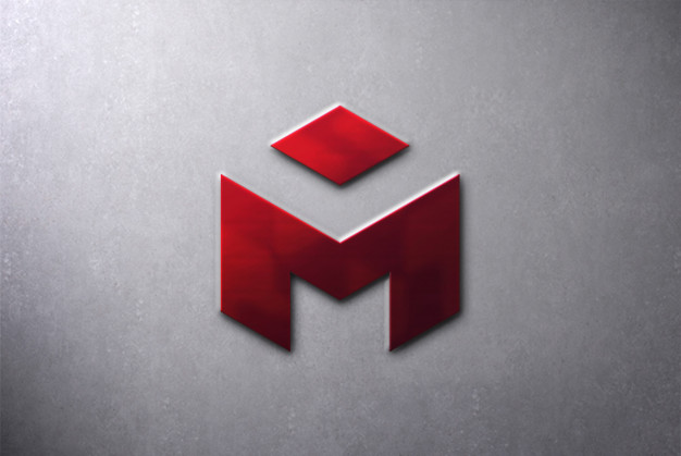 Metal 3d logo mockup on wall Premium Psd