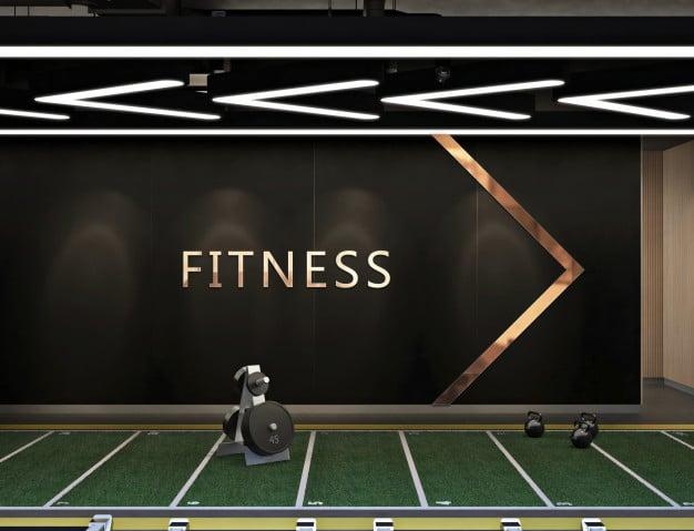 Mockup logo in modern contemporary fitness center Premium Psd