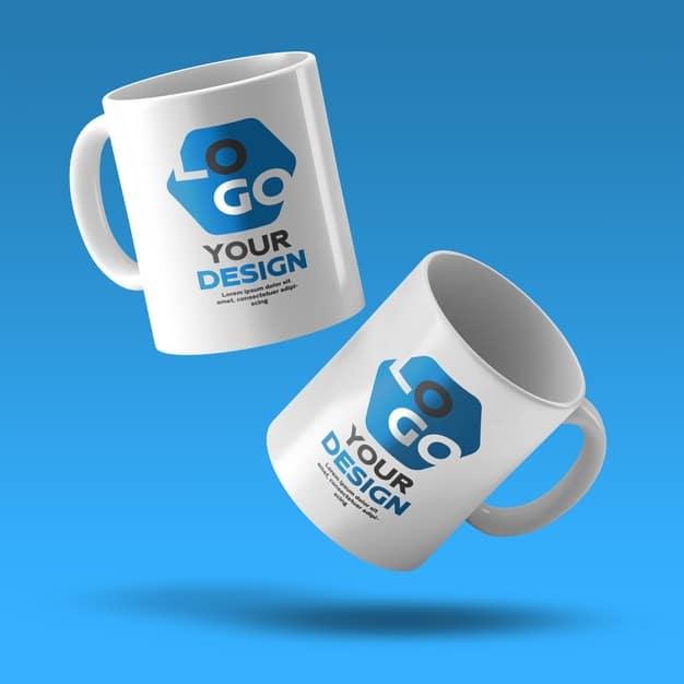 Mockup of two white ceramic coffee mug Premium Psd