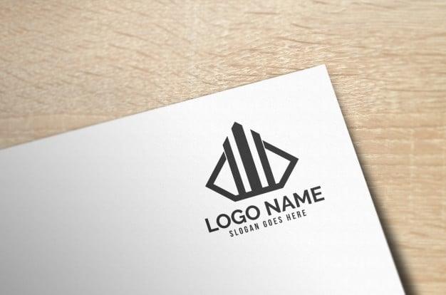 Modern 3d realistic paper logo mockup Premium Psd