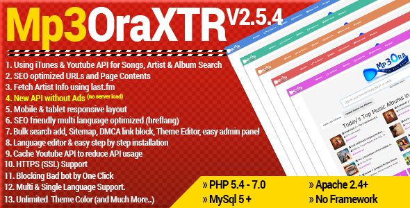 Mp3OraXtr v2.5.4 NULLED - music site script