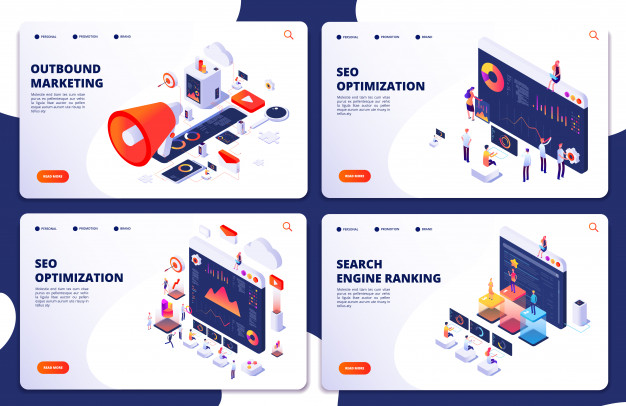 Search engine rank, seo optimization isometric landing pages. seo marketing and analytics, online ranking result Premium Vector