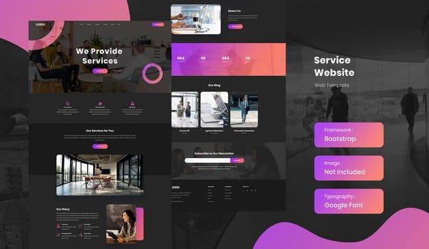Service business website template Premium Psd