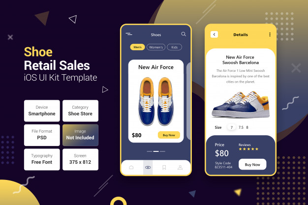 Shoe retail sales store mobile apps Premium Psd