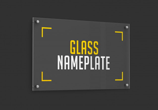 Side view of rectangular glass nameplate mockup Premium Psd