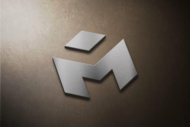 Silver 3d logo mockup on concrete Premium Psd