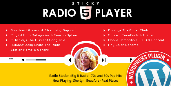 Sticky Radio Player - Full Width Shoutcast and Icecast HTML5 Player