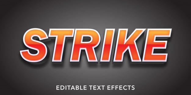 Strike text 3d style editable text effect Premium Vector