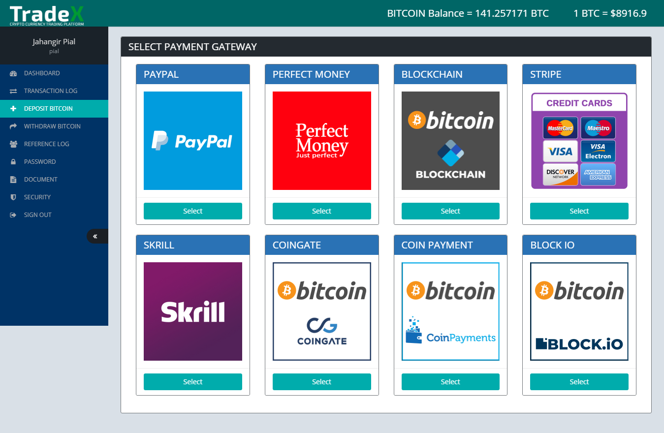 Tradex - cryptocurrency trading platform