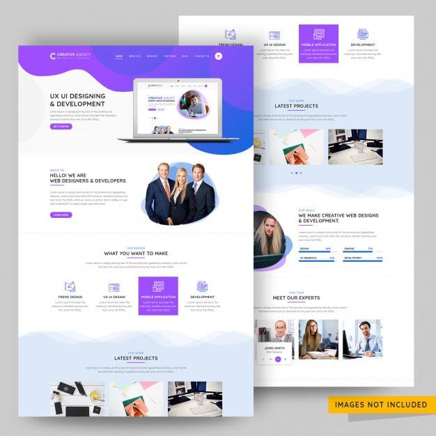 Ui and ux design agency landing page premium psd template Premium Psd