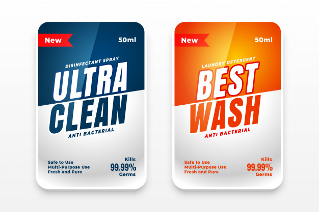 Best clean detergent labels set of two Free Vector