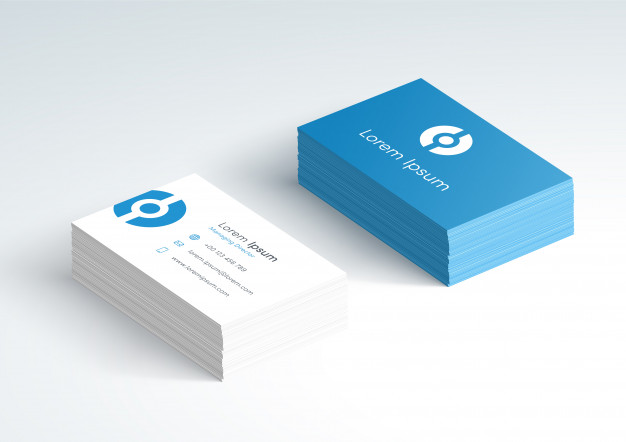 Business card stack front and back 3d mockup Premium Vector