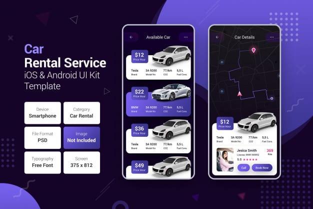 Car rental service & car booking mobile apps Premium Psd