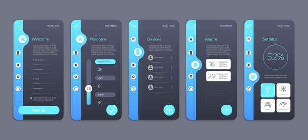 Collection of screens for smart home app Premium Vector