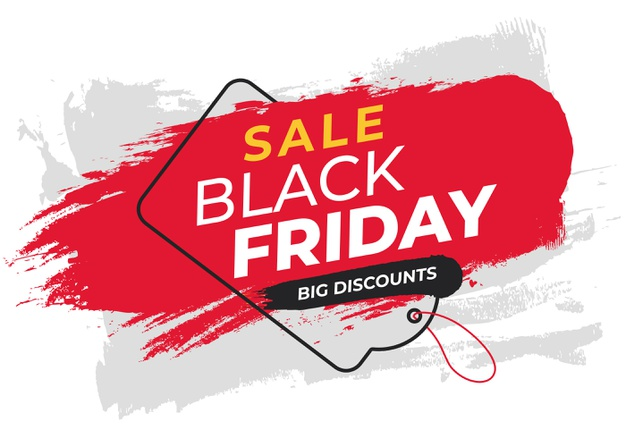 Colorful banner for black friday with label Free Vector