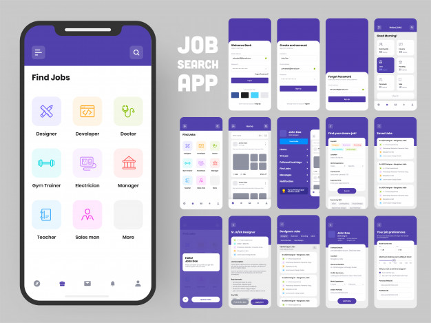 Complete ui and ux screens for a mobile app. Premium Vector
