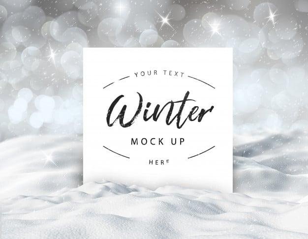 Editable winter snowy card mock up Premium Psd