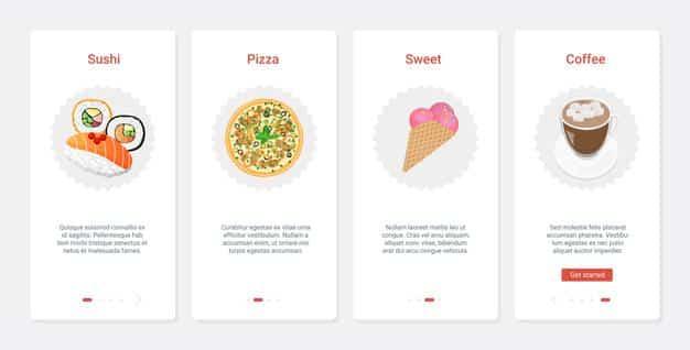 Fast food cafe takeaway product menu, ux, ui onboarding mobile app page screen set Premium Vector