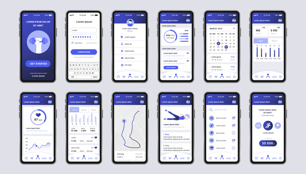 Fitness workout unique design kit for mobile app. Fitness tracker screens with running route planner, analytics and heart rate monitor. Sport UI, UX template set. GUI for responsive mobile application