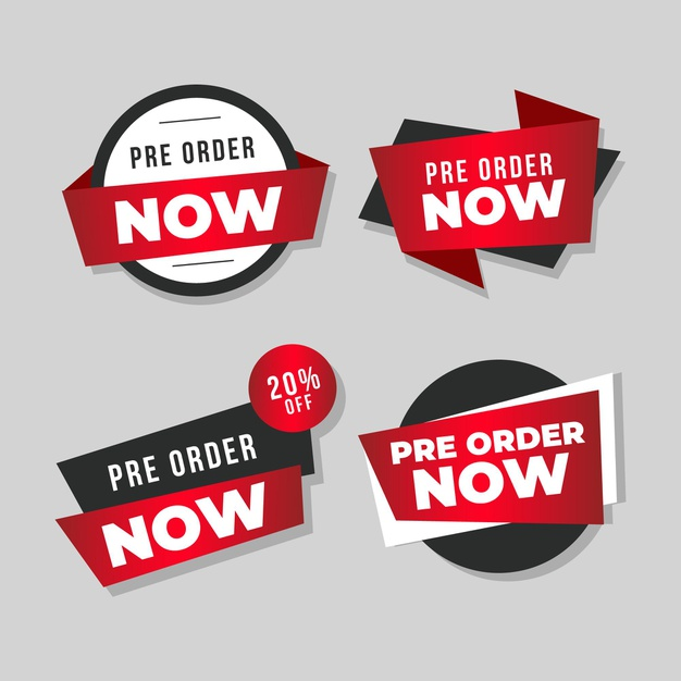 Pre-order badge collection Free Vector