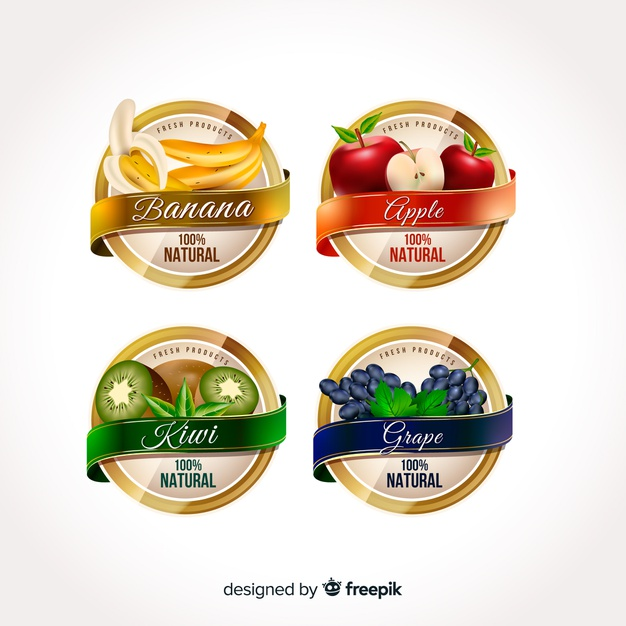 Realistic organic food labels Free Vector