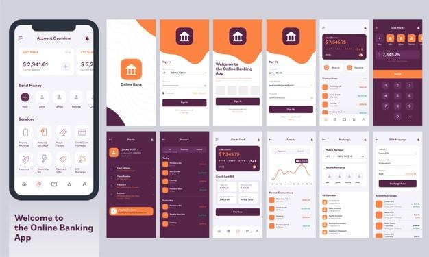 Responsive mobile app ui. Premium Vector