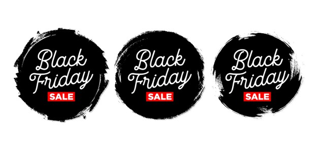 Set of black friday sticker with grunge Free Vector
