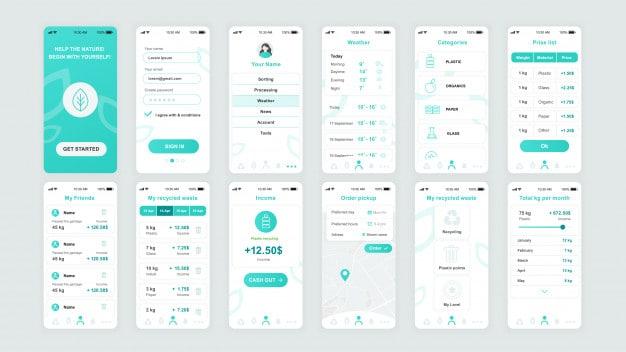 Set of ui, ux, gui screens ecology app flat template Premium Vector