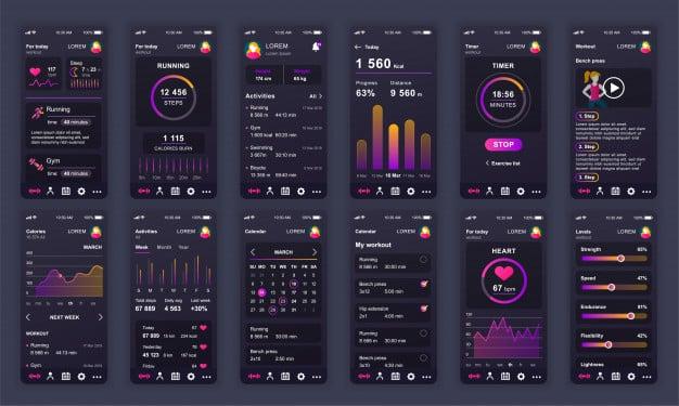 Set of ui, ux, gui screens fitness app flat Premium Vector