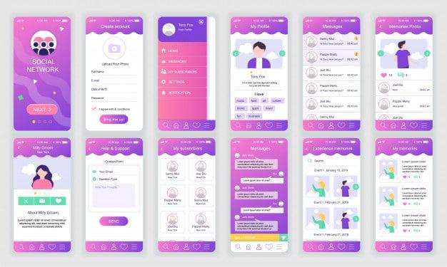 Set of ui, ux, gui screens social network app flat Premium Vector