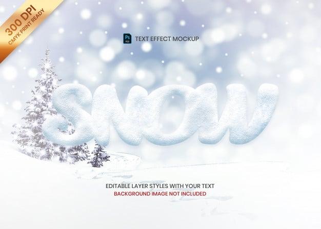 Simple snow texture logo text effect template Premium Psd