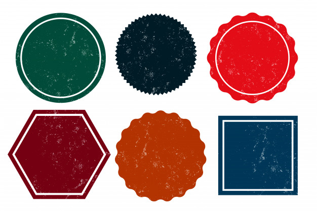 Six empty grunge distressed stamps empty labels Free Vector