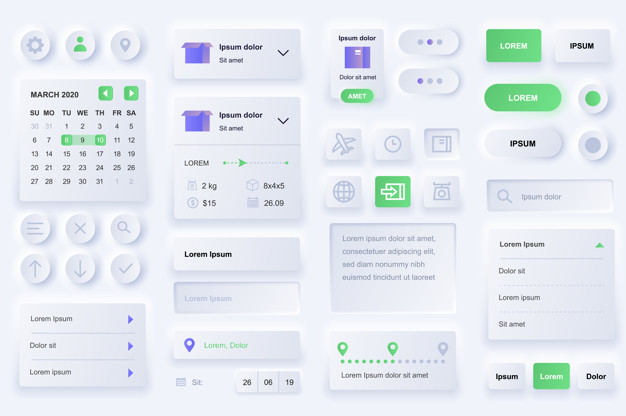 User interface elements for delivery mobile app. International express delivery, logistics and route tracking gui templates. Unique neumorphic ui ux design kit. Navigation, search form and components.