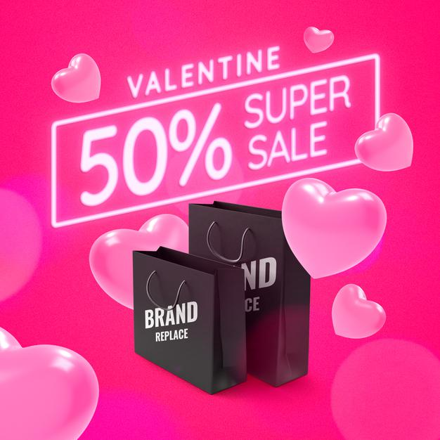Valentine shopping promotion banner mockup Premium Psd