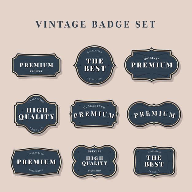 Navy vintage premium badge vectors