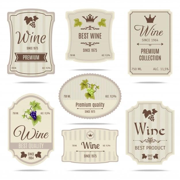 Wine labels set Free Vector