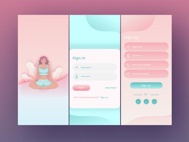Yoga or fitness application splash screens including like as sign in, sign up for mobile ui Premium Vector