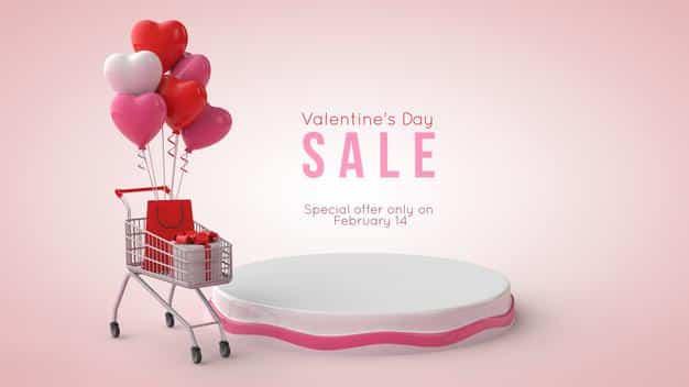 3d illustration of valentine's day podium mockup Premium Psd