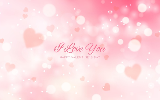 Blurred valentine's day background with message Vector
