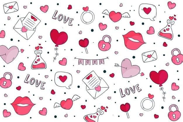 Hand drawn valentine's day background Vector