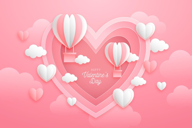 Paper style valentine's day background Free Vector