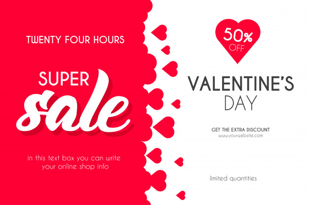 Valentine's day super sale with hearts background Vector