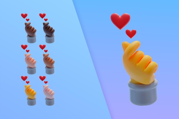 3d collection with finger hearts Premium Psd