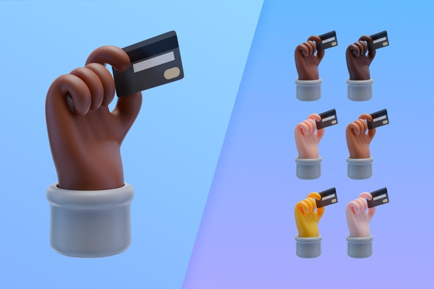 3d collection with hands holding credit card Premium Psd