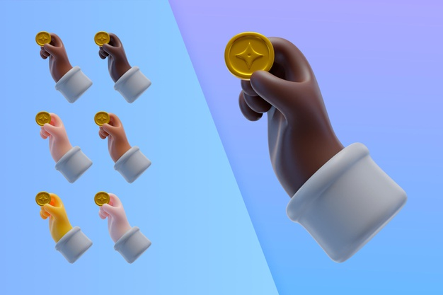 3d collection with hands holding cryptocurrency coin Free Psd