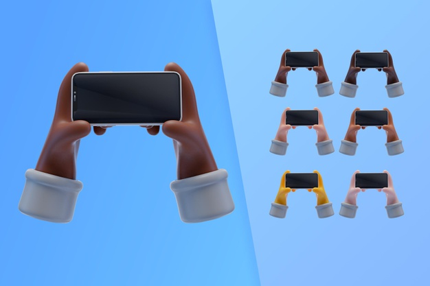 3d collection with hands holding smartphone Free Psd
