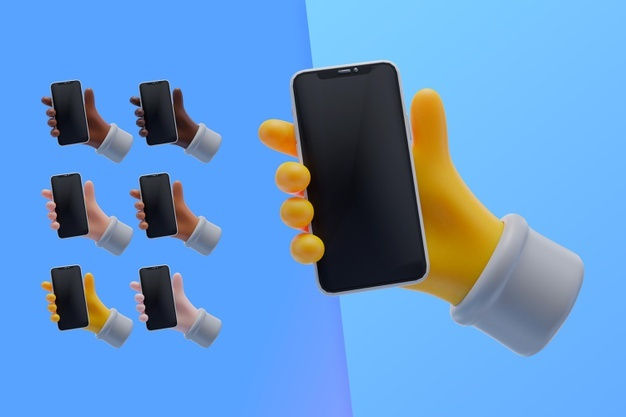 3d collection with hands holding smartphone Premium Psd
