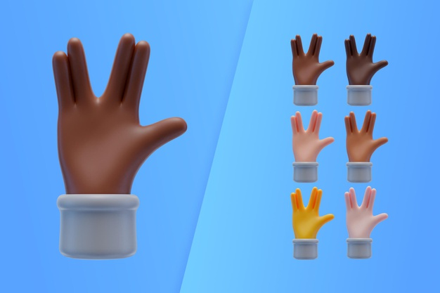 3d collection with hands making alien greeting Free Psd