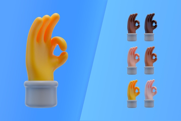 3d collection with hands making ok sign Free Psd