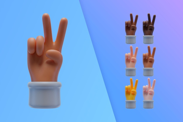 3d collection with hands making peace sign Free Psd